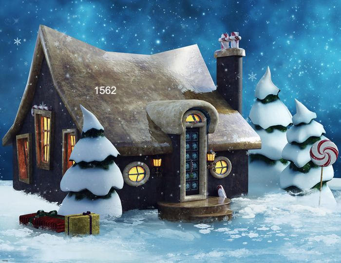 Christmas House.Photography Background In Fabric Christmas House And Pine Tree Backdrop 1562