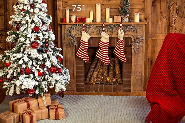 Photography Background In Fabric Fireplace Boots Christmas Backdrop 751