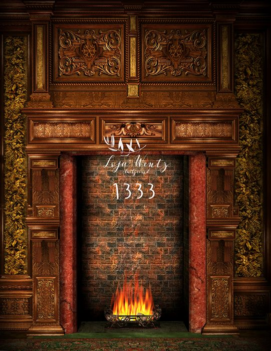 Photography Background In Fabric Christmas Fireplace Backdrop 1333