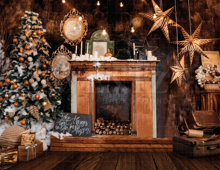 Christmas Fireplace.Photography Background In Fabric Christmas Fireplace Backdrop 1928