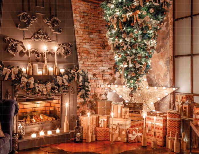 Photography Background In Fabric Christmas Fireplace And Pine Backdrop 1929