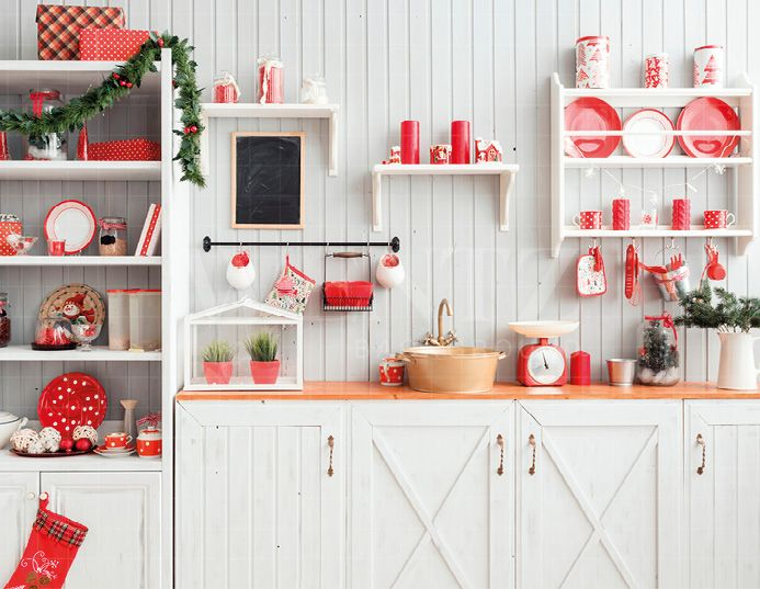Photography Background In Fabric Christmas Kitchen Backdrop 1900