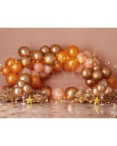 Photography Background in Fabric Scenarios Golden Brown Balloon / Backdrop 1735