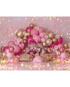Photography Background in Fabric Scenarios Color Pink and Golden Balloon / Backdrop 1851