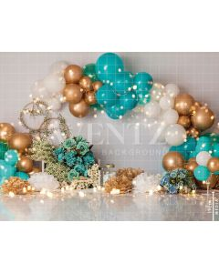 Photography Background in Fabric Scenarios Green and Golden Balloon / Backdrop 1852