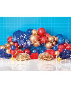 Photography Background in Fabric Scenarios Blue and Red Balloon / Backdrop 1853