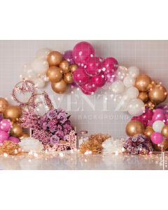 Photography Background in Fabric Scenarios Fuchsia and White Balloon / Backdrop 1854