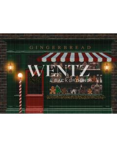 Photographic Background in Fabric Christmas Gingerbread Store  / Backdrop 2312