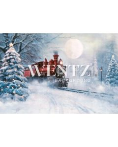 Photographic Background in Fabric Christmas Train / Backdrop 2314