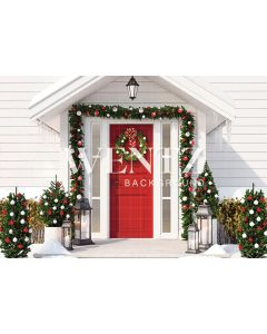 Photographic Background in Fabric Facade Christmas House with Red Door / Backdrop 2315