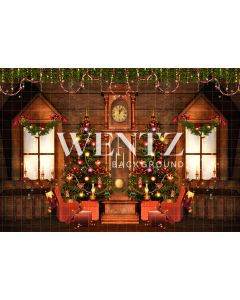 Photography Background in Fabric Christmas Room With Clock / Backdrop 2327