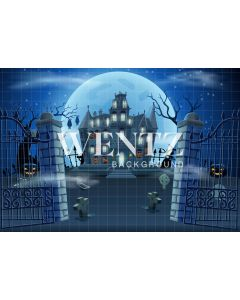Photography Background in Fabric Halloween Haunted Cemetery / Backdrop 2354