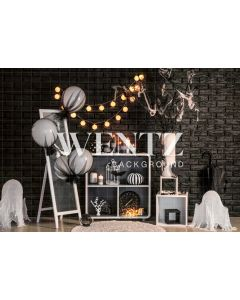 Photography Background in Fabric Halloween Set With Balloons / Backdrop 2357