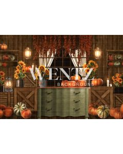 Photography Background in Fabric Fall Set With Pumpkins / Backdrop 2362