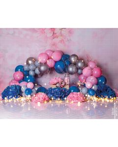 Photography Background in Fabric Scenarios Blue and Rose Balloon / Backdrop 2470