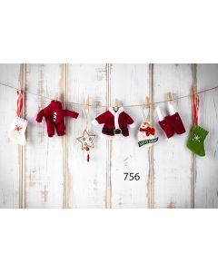 Photography Background in Fabric Clothesline Woddy Christmas / Backdrop 756