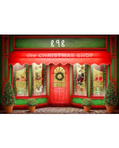 Photography Background in Fabric Christmas Toy Store / Backdrop 898