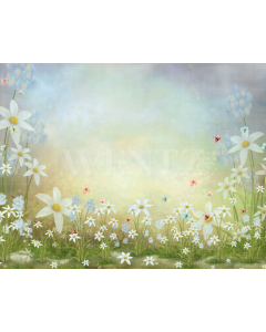 Photography Background in Fabric Flowers and Butterflies / Backdrop 2083