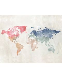 Photography Background in Fabric Watercolor World Map / Backdrop 2031