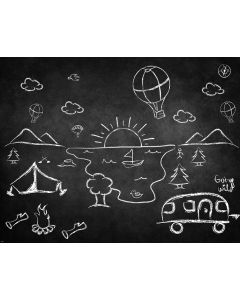 Photography Background in Fabric Chalkboard Camping / Backdrop 1840