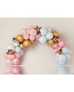 Photography Background in Fabric Scenarios Pink Blue and Gold Balloon / Backdrop 2096
