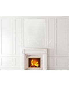 Photography Background in Fabric Boiserie Wall and Fireplace / Backdrop 1938