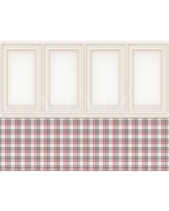 Photography Background in Fabric Boiserie and Plaid Wall / Backdrop 1934
