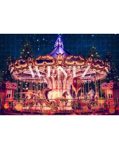Photography Background in Fabric Christmas Carousel / Backdrop 2317
