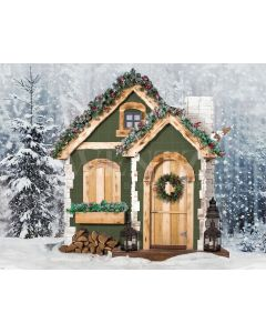 Photography Background in Fabric Christmas House / Backdrop 1936