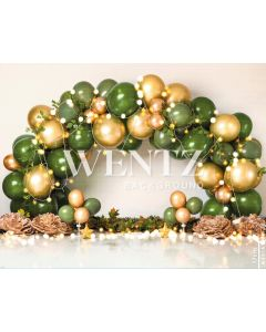 Photography Background in Fabric Scenarios Green and Gold Balloon / Backdrop 2201
