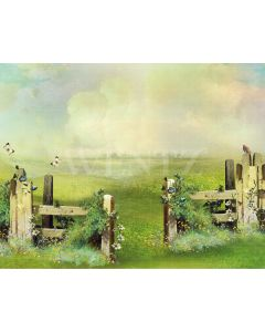 Photography Background in Fabric Scenery Grove with Fence and Flowers / Backdrop 2079