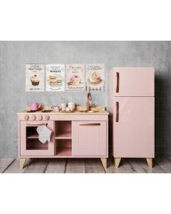 Photography Background in Fabric Children's Pink Kitchen / Backdrop 2081