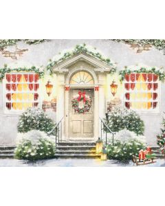 Photography Background in Fabric Christmas Facade and Door / Backdrop 2113