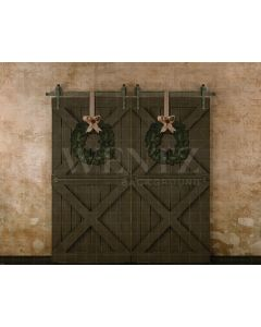 Photography Background in Fabric Christmas Facade and Door / Backdrop 2117