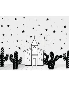 Photography Background in Fabric Church and Cactus / Backdrop 2104