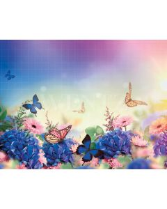 Photography Background in Fabric Butterflies and Flowers / Backdrop 2093