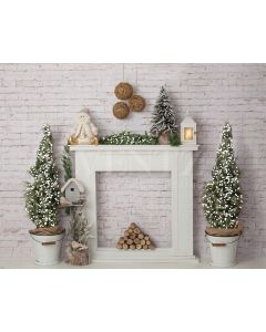 Photography Background in Fabric Christmas Fireplace / Backdrop 1942