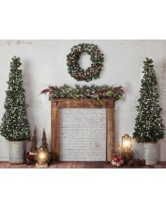 Photography Background in Fabric Christmas Fireplace / Backdrop 1940
