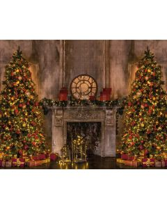 Photography Background in Fabric Christmas Fireplace and Pines / Backdrop 2143
