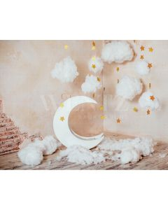 Photography Background in Fabric Moon Stars and Clouds / Backdrop 2123