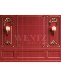 Photography Background in Fabric Boiserie Red Wall / Backdrop 1923