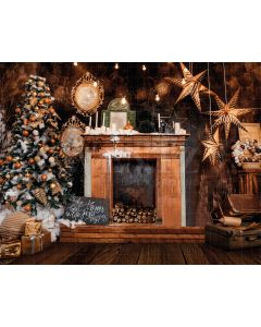 Photography Background in Fabric Christmas Fireplace / Backdrop 1928