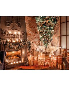 Photography Background in Fabric Christmas Fireplace and Pine / Backdrop 1929