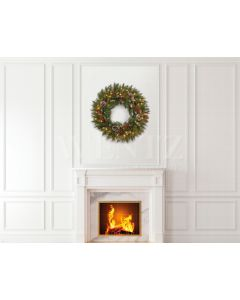 Photography Background in Fabric Christmas Fireplace / Backdrop 1922