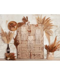Photography Background in Fabric Boho Wall and Door with Macramé / Backdrop 2062