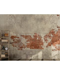 Photography Background in Fabric Brick Wall and Bookcase / Backdrop 2111