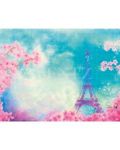 Photography Background in Fabric Paris Travel and Flowers Newborn / Backdrop 2064