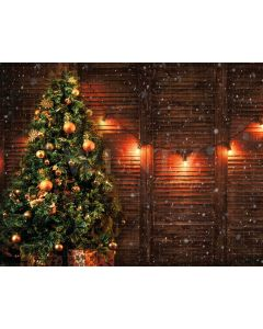 Photography Background in Fabric Christmas Pine and Lights / Backdrop 2140