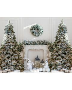 Photography Background in Fabric Christmas Fireplace and Pines / Backdrop 2135