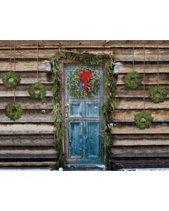 Photography Background in Fabric Christmas Door / Backdrop 1914